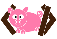 The logo is a pig framed between two angle brackets.