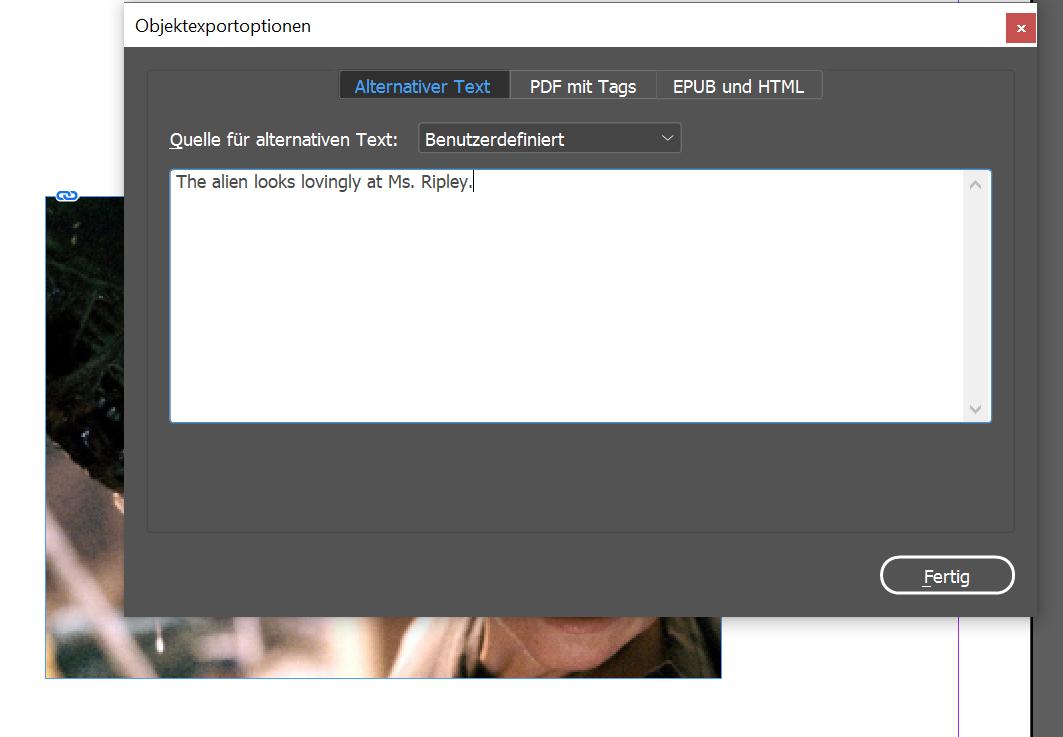 Das Menü Objektexportoptionen zeigt einen Alternativtext für ein Bild.