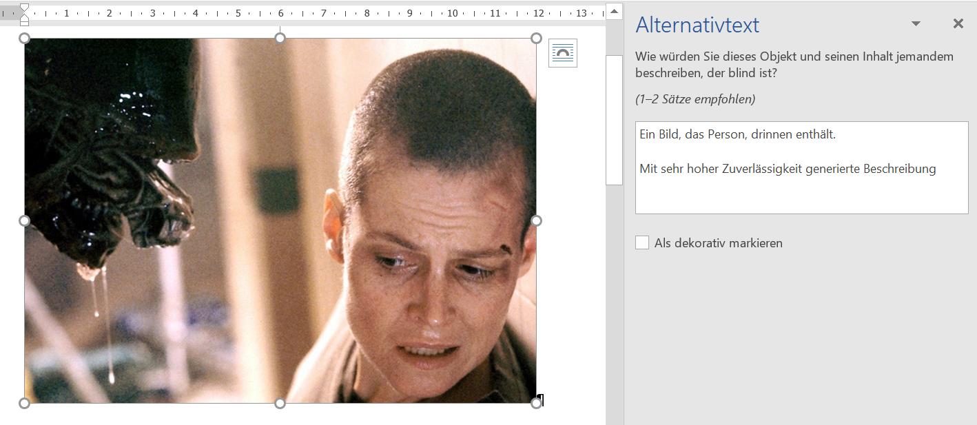 Ein Screenshot zeigt ein Formular zur Eingabe von Alternativtexten in Microsoft Word